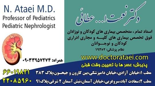 متخصص بیماری های کودکان و نوزادان-فوق تخصص بیماری های کلیه و مجاری ادراری-دکترنعمت الله عطائی